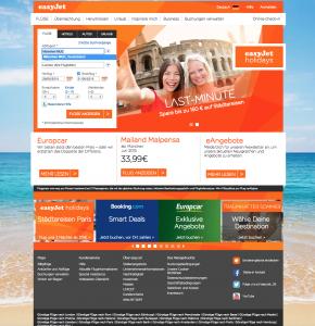 Startseite von EasyJet